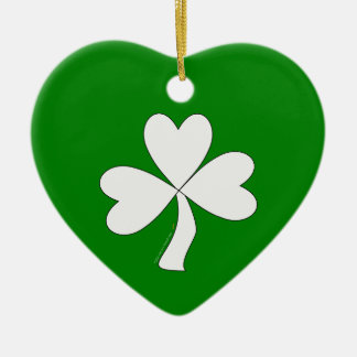 白いシャムロックのセントパトリックの日のアイルランドの幸運 セラミックオーナメント