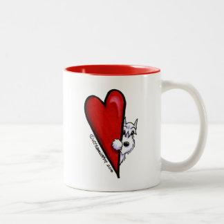 白いシュナウツァー愛 ツートーンマグカップ