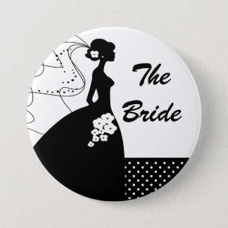 白いシルエットの花嫁のブライダルパーティボタン 7.6CM 丸型バッジ