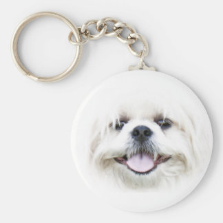 白いシーズー(犬)のtzuの顔のkeychain キーホルダー