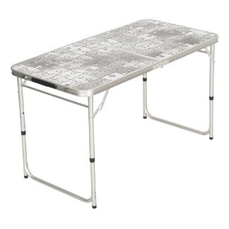 白いジグソーパズルは折りたたみ式テーブルを継ぎ合わせます ビアポンテーブル