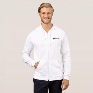 白いジッパーのフード付きスウェットシャツ パーカ