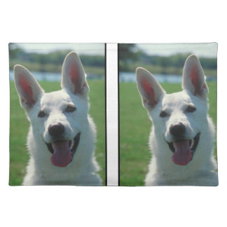 白いジャーマン・シェパード犬のランチョンマット ランチョンマット