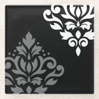 白いスクロールダマスク織の芸術I及び黒の灰色 ガラスコースター