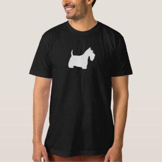 白いスコットランドテリアのシルエット Tシャツ