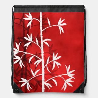 白いタケ赤いバックパック ナップサック