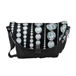 白いダイヤモンドが付いている贅沢なパターンは縞で飾ります メッセンジャーバッグ