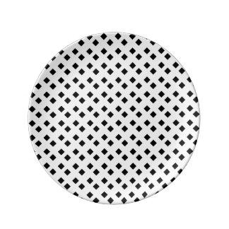 白いダイヤモンドのデザインの黒 磁器プレート