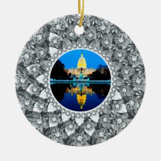 白いダイヤモンドの円の写真フレーム セラミックオーナメント