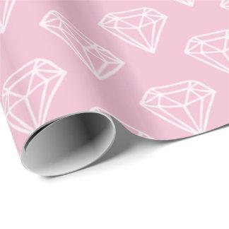 白いダイヤモンドの宝石パターンピンクの包装紙 包装紙