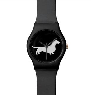 白いダックスフントのシルエット 腕時計