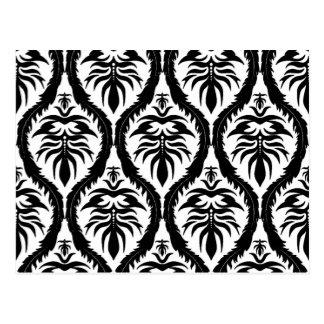 白いダマスク織の花柄の黒 ポストカード