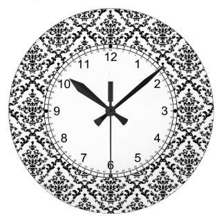 白いダマスク織パターンの黒 ラージ壁時計