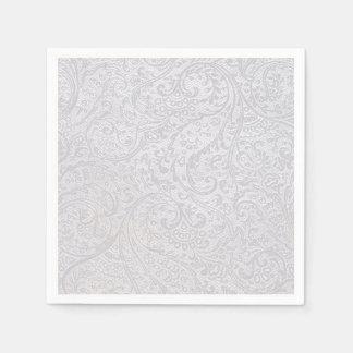 白いダマスク織 スタンダードカクテルナプキン