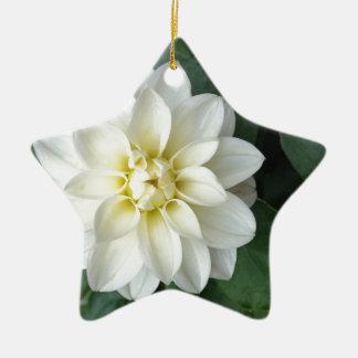 白いダリア 陶器製星型オーナメント
