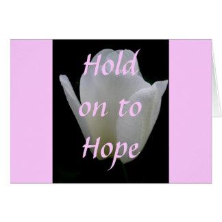 白いチューリップおよび淡いピンクは希望にしがみつきます カード