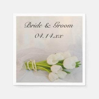 白いチューリップの花束の春の結婚式 スタンダードカクテルナプキン