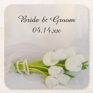 白いチューリップの花束の結婚式 スクエアペーパーコースター