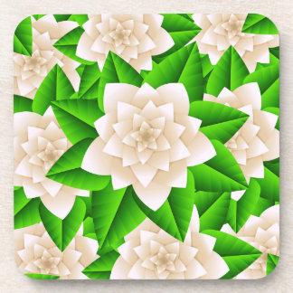 白いツバキおよび緑の葉 コースター