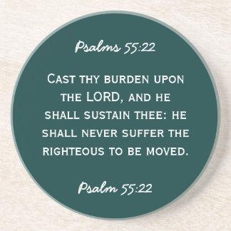 白いテキストの聖書の道の賛美歌の55:22 ドリンクコースター