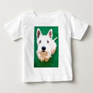白いテリア ベビーTシャツ