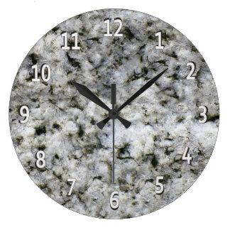 白いディジットとの花こう岩の石の白 ラージ壁時計