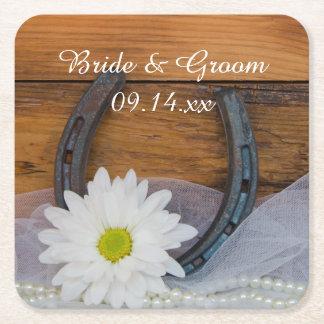 白いデイジーおよび蹄鉄の国の西部の結婚式 スクエアペーパーコースター
