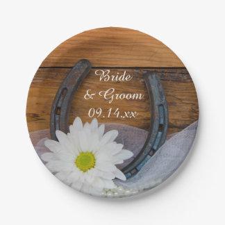 白いデイジーおよび蹄鉄の国の西部の結婚式 ペーパープレート