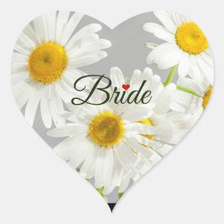 白いデイジーで文字デザインな花嫁 ハートシール