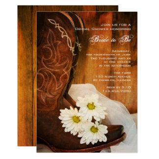 白いデイジーのカウボーイ・ブーツの西部のブライダルシャワー カード