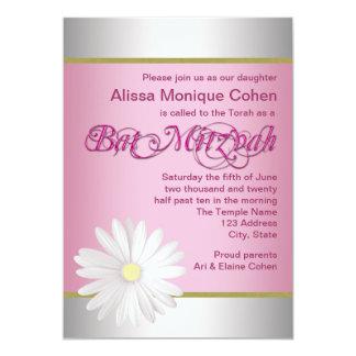 白いデイジーのバルミツワーのピンクの招待状 カード