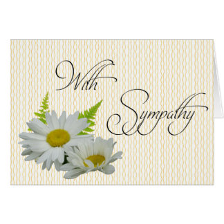 白いデイジーの大きいフォントの悔やみや弔慰カード カード