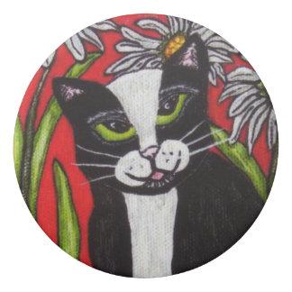 白いデイジーの微笑の白黒のタキシード猫 消しゴム