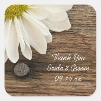 白いデイジーの納屋の木製の結婚式はメッセージカード感謝していしています スクエアシール
