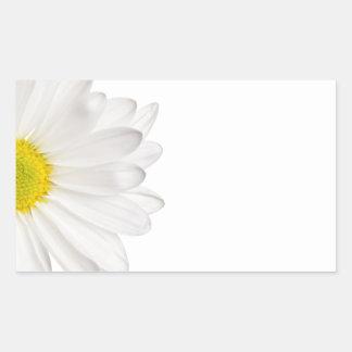 白いデイジーの花の背景によってカスタマイズデイジー 長方形シール