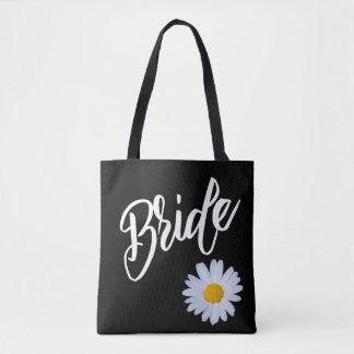 白いデイジーの花嫁との黒 トートバッグ