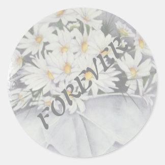 白いデイジーの花束の結婚式用シール ラウンドシール