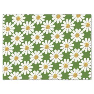 白いデイジーの花柄 薄葉紙