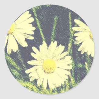 白いデイジー3の緑の黄色い開花のパステル ラウンドシール