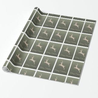 """白いトナカイの銀の光沢のある包装紙30"""" x6 ラッピングペーパー"""