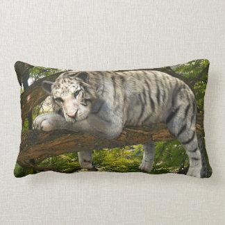 白いトラのジャングルのファンタジーの雨林の抽象芸術インク ランバークッション