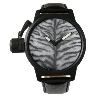 白いトラの毛皮の黒の革腕時計 腕時計