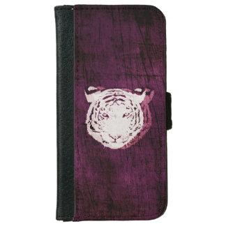 白いトラの紫色 iPhone 6/6S ウォレットケース