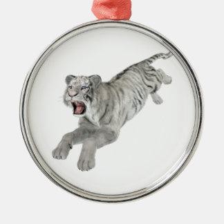白いトラの跳躍 メタルオーナメント