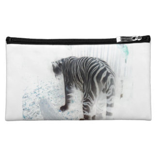 白いトラの野生動物 コスメティックバッグ