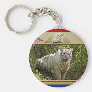 白いトラ愛国心が強いKeychain キーホルダー