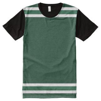 白いトリムとのハンター緑 オールオーバープリントT シャツ