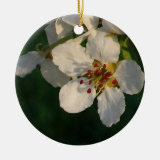 白いナシの花の春のオーナメント セラミックオーナメント