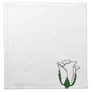 白いナプキンの白いバラの芽 ナプキンクロス
