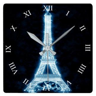 白いネオン白熱正方形の柱時計のエッフェル塔 スクエア壁時計